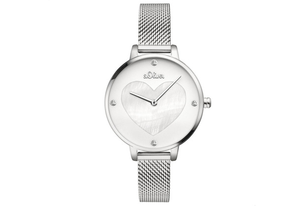 s.Oliver Damen-Armbanduhr MIT GRAVUR (z.B. Namen) SO-3472-MQ Silber für Frauen mit Herz