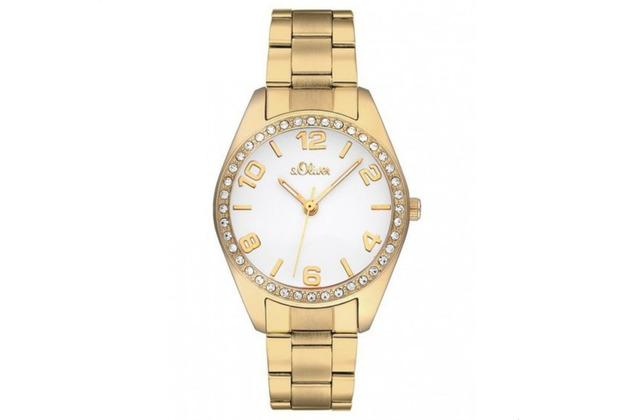s.Oliver Damen-Armbanduhr SO-2280-MQ Damenuhr Farbe: Gold