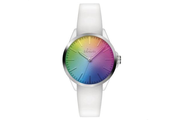s.Oliver Damenuhr MIT GRAVUR (z.B. Namen) SO-3199-PQ weiß Uhr Damen Armbanduhr