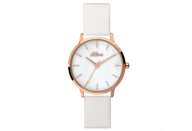 s.Oliver Damenuhr MIT GRAVUR (z.B. Namen) SO-3703-LQ Damen Armbanduhr weiß
