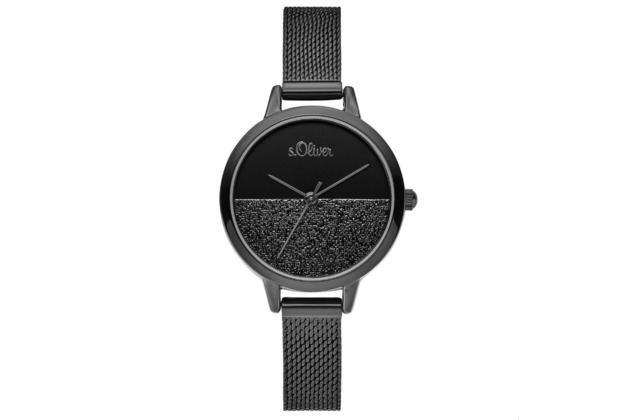s.Oliver Damenuhr SO-3744-MQ Damen Armbanduhr schwarz