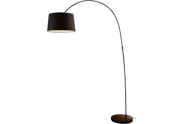 SalesFever Bogenlampe 205 cm schwarz, echter Marmorfuß, 40 cm Lampenschirm