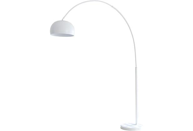 SalesFever Bogenlampe 205 cm weiß, echter Marmorfuß hell