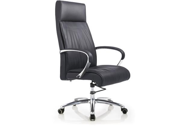 SalesFever Bürostuhl Echtleder schwarz