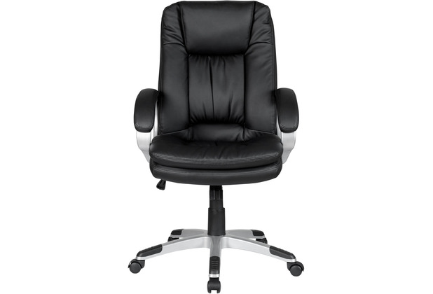 SalesFever Bürostuhl mit Armlehnen, schwarz Kunstleder, verchromtes Metall Schwarz, Silber 394021