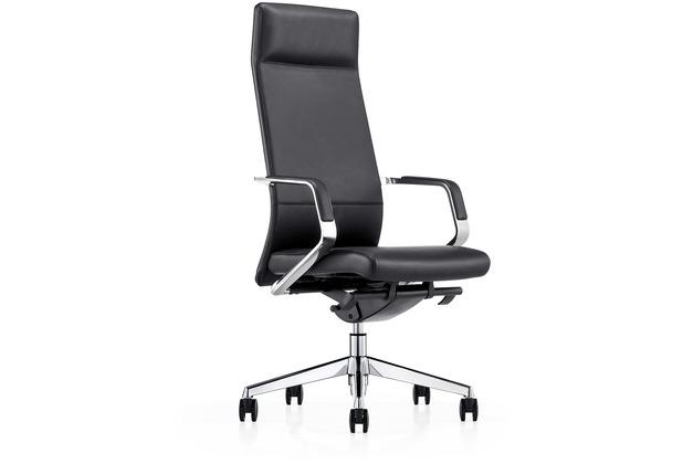 SalesFever Bürostuhl schwarz Echtleder