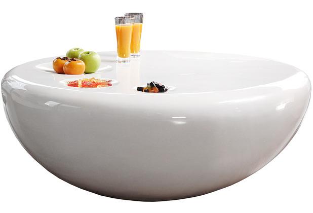 SalesFever Couchtisch Ø 100 cm rund weiß Fiberglas hochglanz lackiert, 100 cm Durchmesser