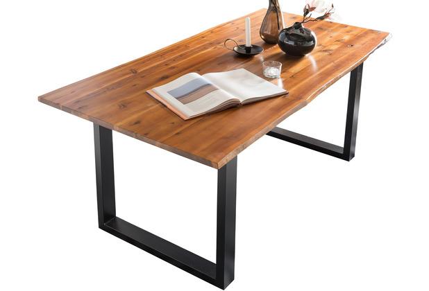 SalesFever Esstisch 120x80x77 cm mit echter Baumkante, schwarz lackiertes Gestell