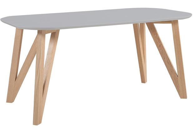 SalesFever Esstisch 140x90x76 cm grau Eiche, oval geformte Tischplatte, matt lackiert, Skandinavian Design