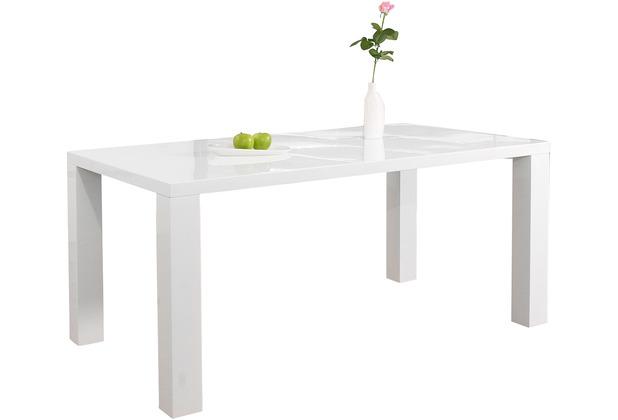 SalesFever Esstisch 140x90x76 cm weiß hochglanz lackiert