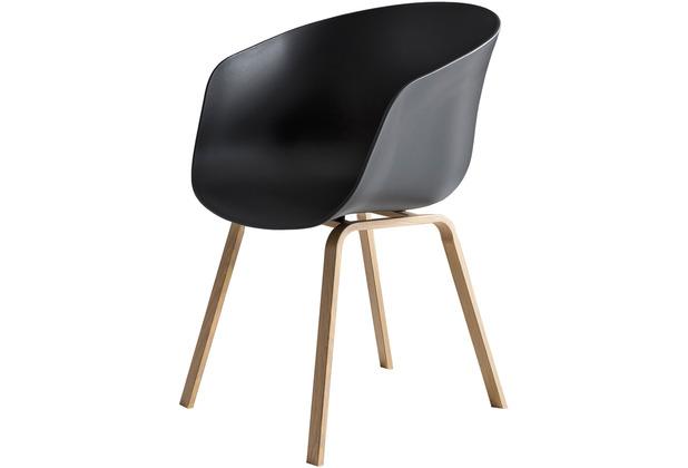 SalesFever Esszimmerstuhl 2er Set schwarz Kunststoffschale, Rückenlehne ergonomisch geformt