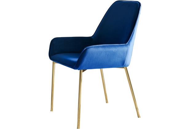 SalesFever Esszimmerstuhl blau Samt 2er Set Stuhlbeine in goldenem Messing, leicht abgeschrägte Armlehnen