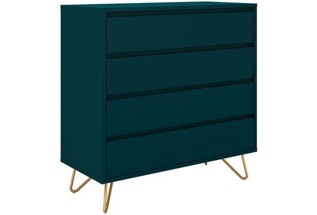 SalesFever Kommode breit mit 4 Schubladen MDF, Metall Blau, Gold 393604