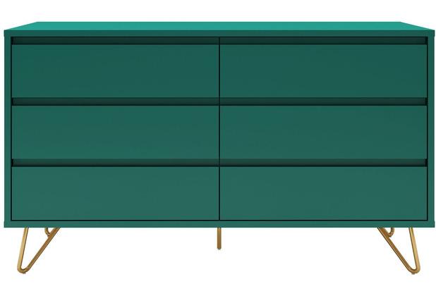 SalesFever Kommode breit mit 6 Schubladen MDF, Metall Grün, Gold 395189