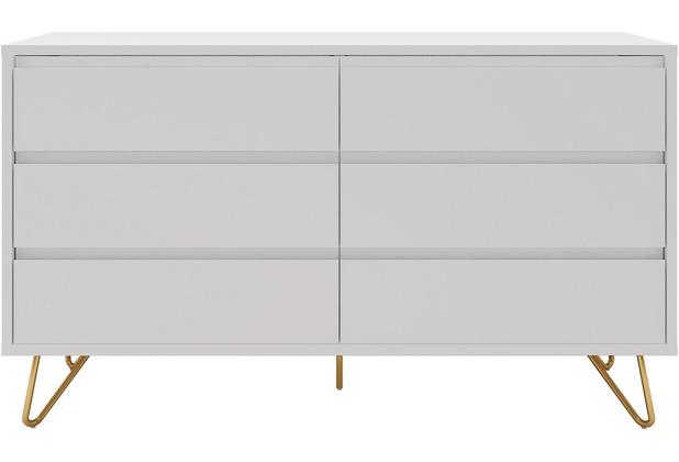 SalesFever Kommode breit mit 6 Schubladen MDF, Metall Weiß, Gold 395158
