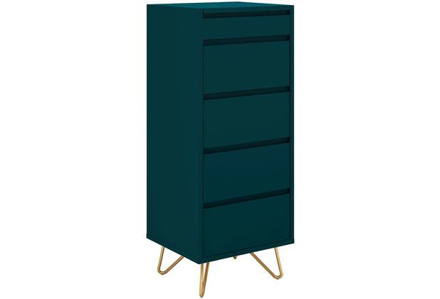 SalesFever Kommode hoch mit 4 Schubladen und 1 Fach, inkl. Spiegel MDF, Metall Blau, Gold 393574