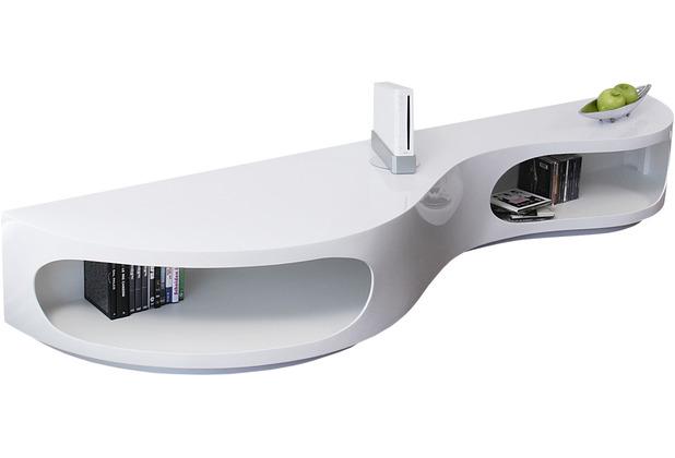 SalesFever Lowboard 200x50x30 cm weiß Hochglanz, mit geschwungener Form, Made in Germany