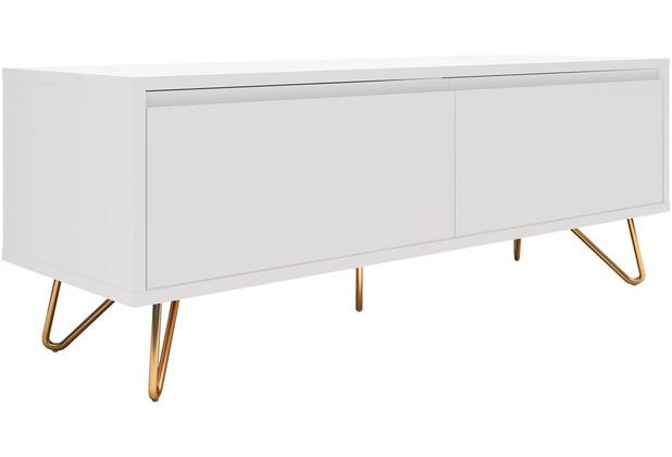 SalesFever Lowboard mit Schublade und Klappfach, matt MDF, Metall Weiß, Gold 392980
