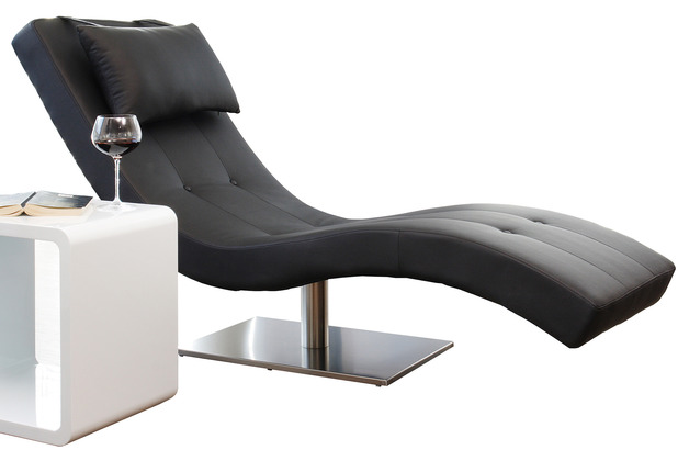 SalesFever Relaxliege schwarz Kunstleder Edelstahlfuß, ergonomisch geschwungene Liegefläche mit Kunstlederbezug