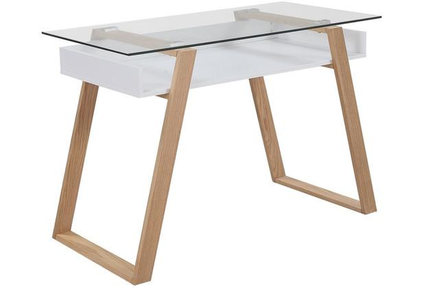 SalesFever Schreibtisch 110x55x75 cm weiß matt lackiert, echtholzfunier Eiche mit Stauraum unter der Glasplatte