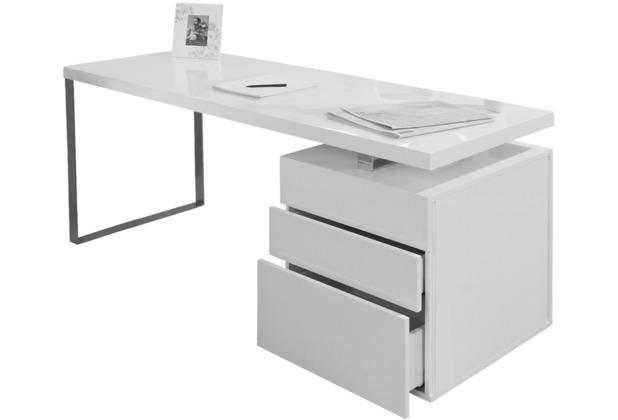 SalesFever Schreibtisch 180x85x76 cm weiß hochglanz lackiert, inkl. Container mit 3 Schubladen