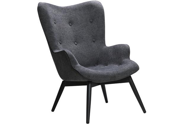 SalesFever Sessel Dunkelgrau Strukturstoff Metall, Stoff Dunkelgrau, Schwarz 394113