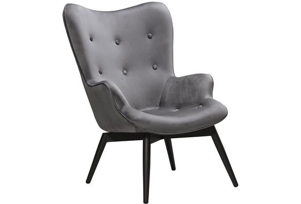 SalesFever Sessel Grau Samt Metall, Samt (100% Polyester) Grau, Schwarz 394137
