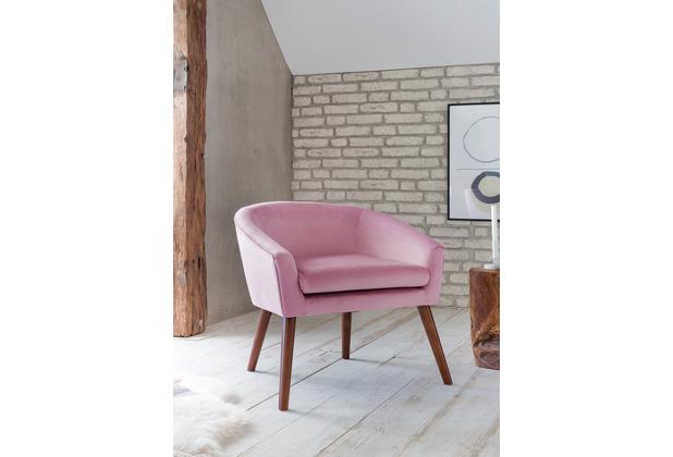 SalesFever Sessel Rose Samt 100% Polyester, mit Armlehnen, abgerundeter Rücken- und Armlehnbereich