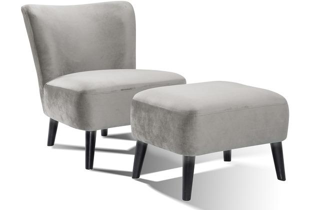 SalesFever Sessel und Hocker Retro Samt grau