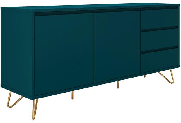 SalesFever Sideboard mit 2 Türen und 3 Schubladen MDF, Metall Blau, Gold 393543