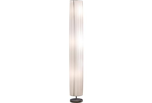 SalesFever Stehlampe 160 cm rund weiß chrom Plisseé Lampenschirm, verchromtes Metall