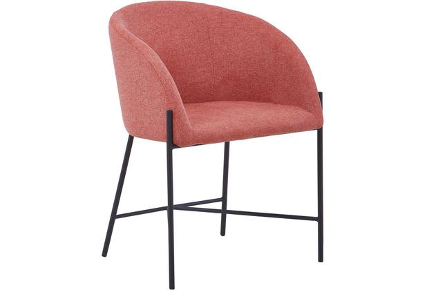 SalesFever Stuhl mit Armlehnen Strukturstoff, grob Metall, Strukturstoff (100% Polyester) dusty pink, schwarz