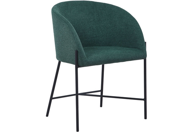 SalesFever Stuhl mit Armlehnen Strukturstoff, grob Metall, Strukturstoff (100% Polyester) tannengrün, schwarz