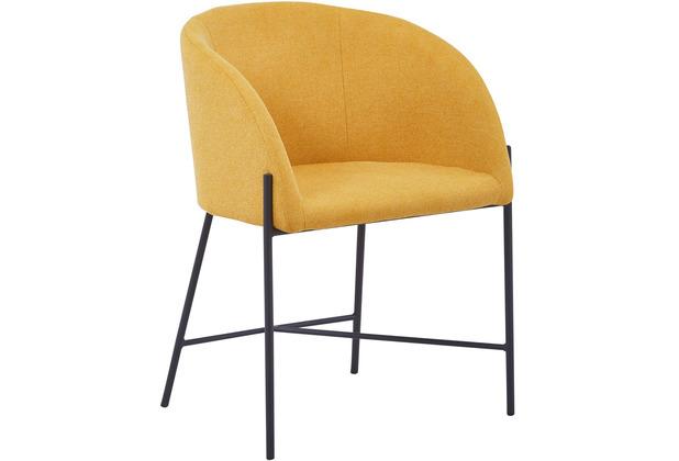 SalesFever Stuhl mit Armlehnen Strukturstoff, grob Metall, Strukturstoff (100% Polyester) Senfgelb, Schwarz