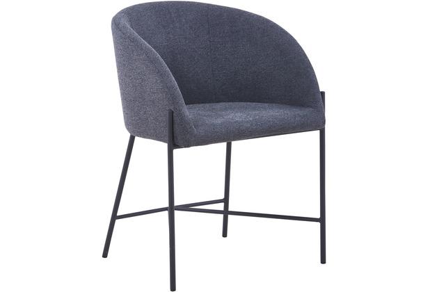 SalesFever Stuhl mit Armlehnen Strukturstoff, grob Metall, Struktustoff (100% Polyester) Dunkelgrau, Schwarz