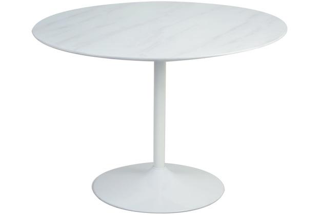 SalesFever Tisch Weiß rund Ø 110 cm Metall, MDF Weiß 394281