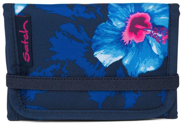 satch Pack Geldbeutel 13,5 cm waikiki blue blau weiße blumen