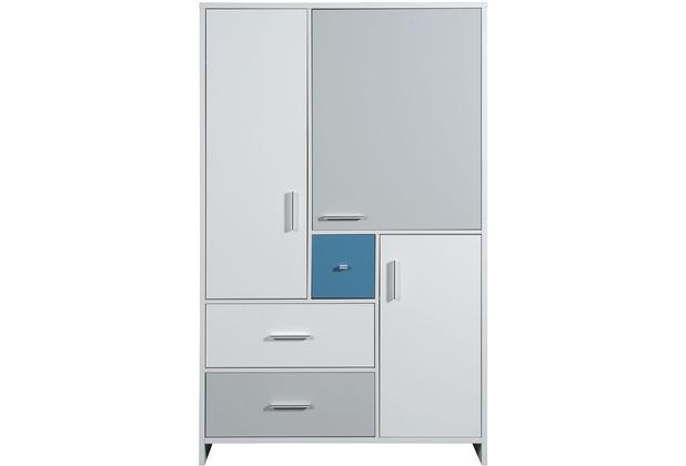Schardt Candy Blue Schrank 3 Türen, 3 Schübe, weiß / blau, grau