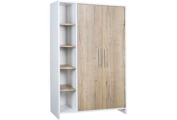 Schardt Eco Plus Schrank 2 Türen, Regalteil, Halifax Eiche / weiß