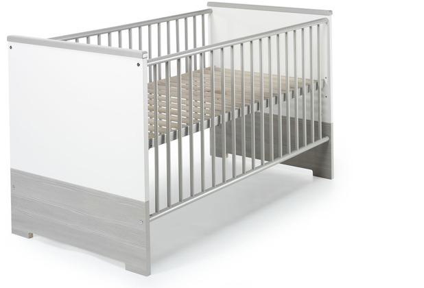 Schardt Eco Silber Kombi-Kinderbett 70x140 cm, weiß / Pinie silber