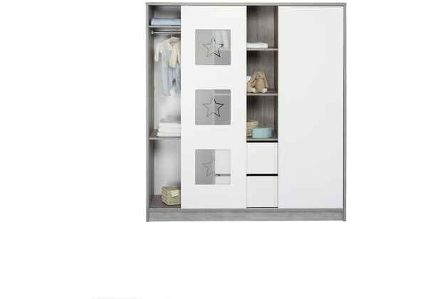 Schardt Eco Star Schrank 2 Türen, Mittelregal, Driftwood / weiß