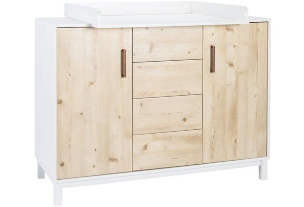 Schardt Timber Pinie Wickelkommode 2 Türen, 4 Schübe, weißgrau / Henson