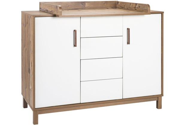 Schardt Timber Wickelkommode 2 Türen, 4 Schübe, Bramberg Fichte / weißgrau