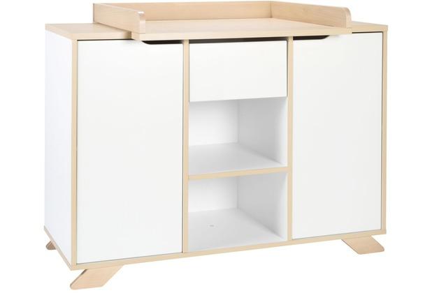Schardt Tokio Wickelkommode 2 Türen, 1 Schub, 2 Fächer, weiß / Altmühlbuche mit Soft-Close-System und Push-to-Open,