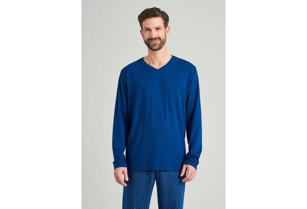 Schiesser Herren Langarmshirt V-Ausschnitt blau 163846-800 48