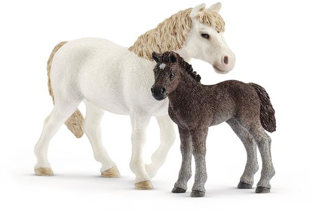 Schleich Pony Stute und Fohlen