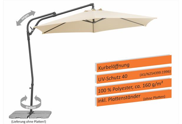 Schneider Schirme Sonnenschirm Genua 300/6 natur