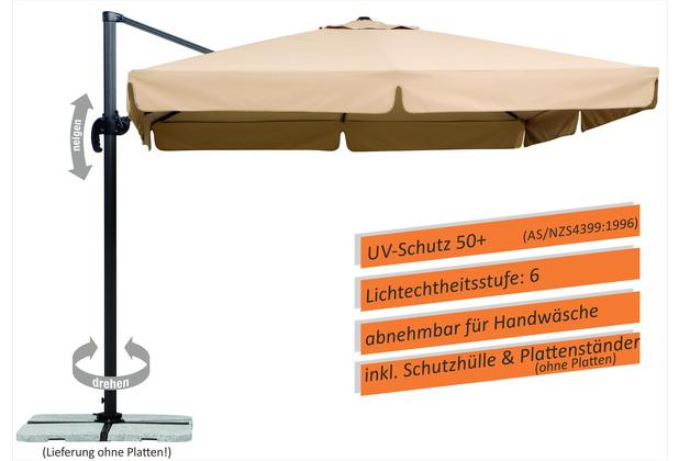 Schneider Schirme Sonnenschirm Rhodos 300x300 natur