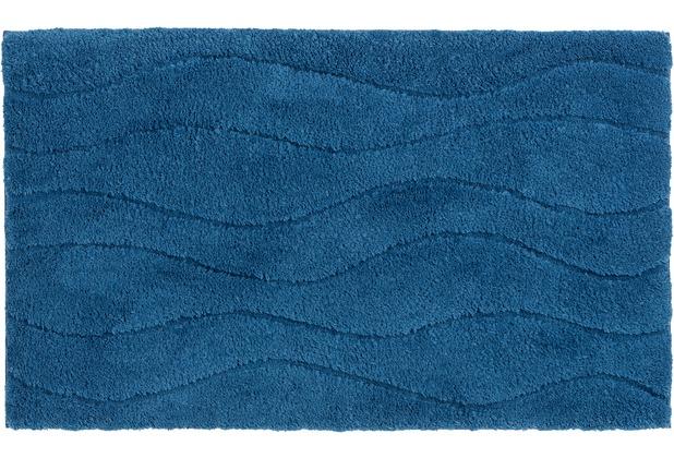 Schöner Wohnen Kollektion Badteppich Santorin D. 002 C. 020 Welle blau 55 cm x 65 cm