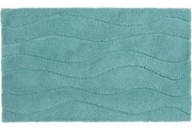 Schöner Wohnen Kollektion Badteppich Santorin D. 002 C. 023 Welle hellblau 55 cm x 65 cm
